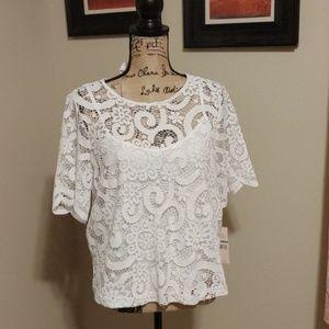 Nanette Lepore white lace two layer top